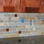 Place the glass tiles for a custom look.